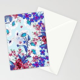Cool blue floral garland texture Stationery Cards