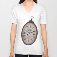 wall clock V-neck T-shirts featuring Vintage Clock by Mirakyan