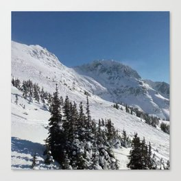 Mountains color palette of white-black-blue Canvas Print