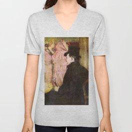 "Henri de Toulouse-Lautrec ""Maxime Dethomas At the Ball of the Opera"" Unisex V-Neck"