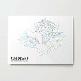 Sun Peaks, BC, Canada - Minimalist Trail Art Metal Print