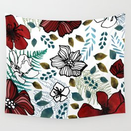 Wild Red Flowers Wall Tapestry
