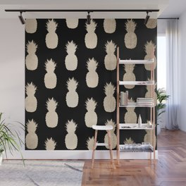 Gold Pineapples Pattern Black Wall Mural