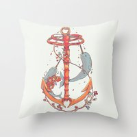 under the sea Throw Pillows featuring Under The Sea by Huebucket