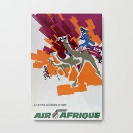 Air Afrique Niger Vintage Travel Poster Metal Print