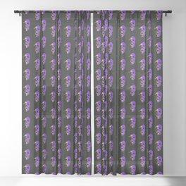 Skull - Purple Sheer Curtain