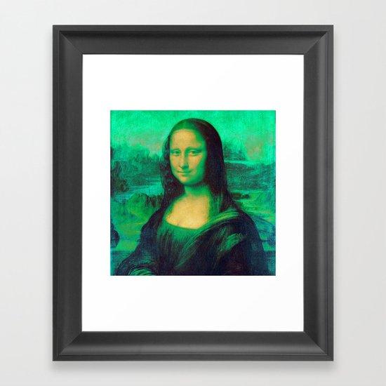 Mona Lisa's Haze (green) Framed Art Print