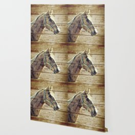 Rustic Brown Cream Horse Cottage Chic Country Decor Barn Art A019 Wallpaper