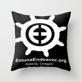 Ship Wheel Logo - White on Black Throw Pillow