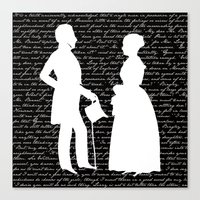 pride and prejudice Canvas Prints featuring Pride and Prejudice design by Evie Seo