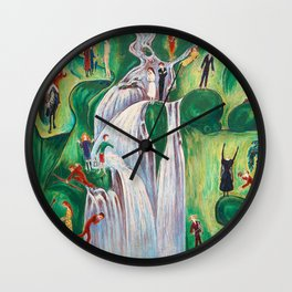 The Waterfall, Elgafossen - The Stages of Life, Love, Loss & Death portrait painting by Nils Dardel Wall Clock