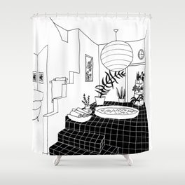 interior pool jacuzzi Shower Curtain