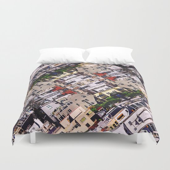 Scene of City Structures Duvet Cover