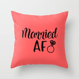 Married AF - Coral Throw Pillow