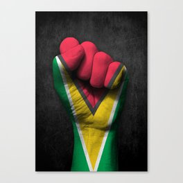 Guyanese Flag on a Raised Clenched Fist Canvas Print