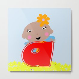 Ananda The Fairy Baby - Monogram Metal Print