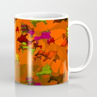 chicago bulls Mugs featuring Dancing Bulls by Iconografico