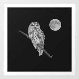 Owl, See the Moon (bw, sq) Art Print