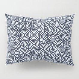 Dark Blue Concentric Octagons Pillow Sham