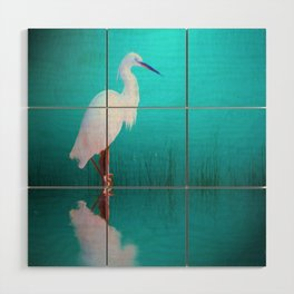 Egret in teal Wood Wall Art