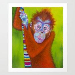 Orangutan Painting on Canvas - Innocent Bliss Art Print