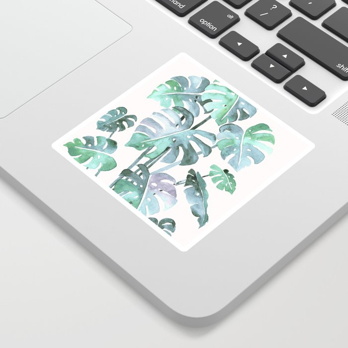 Delicate Monstera Blue And Green #society6 Sticker