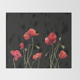 Poppies at Midnight Throw Blanket