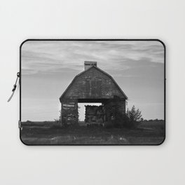 Country Corn Crib Black and White Farm Photography Laptop Sleeve