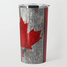 Canada flag on heavily textured woodgrain Travel Mug