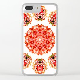 Red Floral Floklore Flower Pattern Illustration Clear iPhone Case