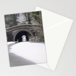 Snowing on the canal Stationery Cards