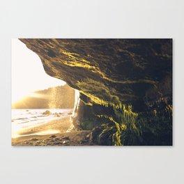 sunset moss cave Canvas Print
