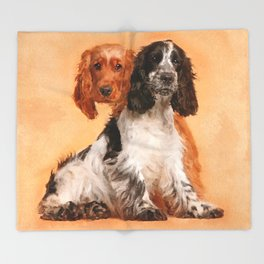 English Cocker Spaniel Dog Digital Art Throw Blanket