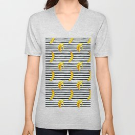 Hand painted yellow black watercolor bananas stripes pattern Unisex V-Neck