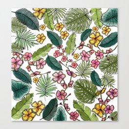 Botanical joy on white Canvas Print