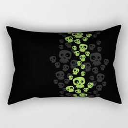 Skulls Fun - green/black Rectangular Pillow
