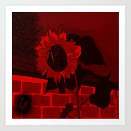 Thee Sunflower in Red by Mgyver Art Print