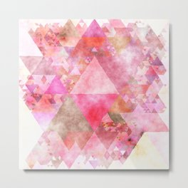 Pink triangles - Abstract elegant watercolor pattern Metal Print