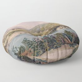Panorama of West Point from Constitution Island by John Rubens Smith (c 1820) Floor Pillow