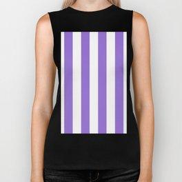 Vertical Stripes - White and Dark Pastel Purple Biker Tank