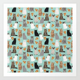 Cats with Pizza slices cheesy food funny cat lover gifts by pet friendly pet portraits Art Print