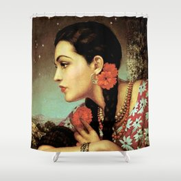 Mexican Calendar Girl in Profile by Jesus Helguera Shower Curtain