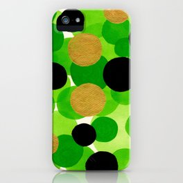 Lime Green Watercolor Bubbles iPhone Case