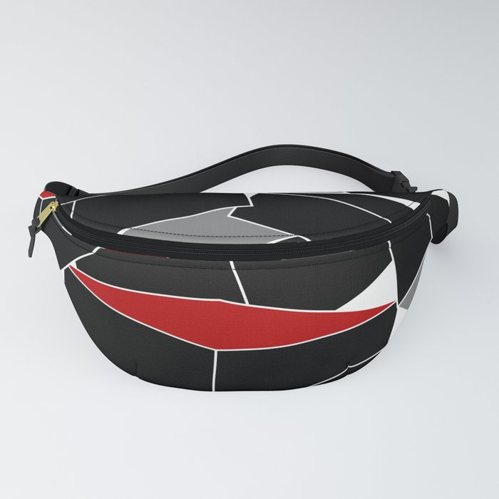 Falling - Abstract - Black, Gray, Red, White Fanny Pack