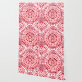 Vintage Coral Wash Mandala Wallpaper