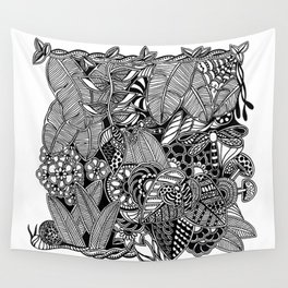 Taman Sari #1 black and white doodle art Wall Tapestry