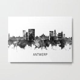 Antwerp Belgium Skyline BW Metal Print