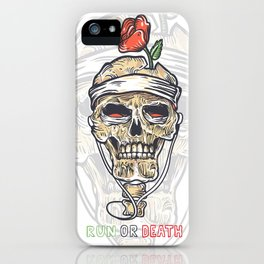 Skull and rose poster in old tattoo style - Run or Death! Skeleton bones music-this is all you need! iPhone Case