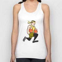 crossfit Tank Tops featuring Crossfit Runner With Kettlebell Cartoon by patrimonio