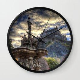 Ross Fountain And Edinburgh Castle Wall Clock